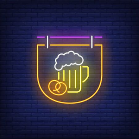 Beer mug and pretzel on signboard neon sign. Bar, pub, party design. Night bright neon sign, colorful billboard, light banner. Vector illustration in neon style.