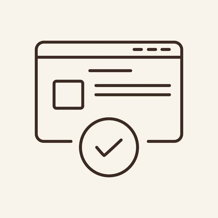 Verifying site line icon. Website, verification, approved. Business concept. Vector illustration can be used for topics like workflow, communication, technology, business, information