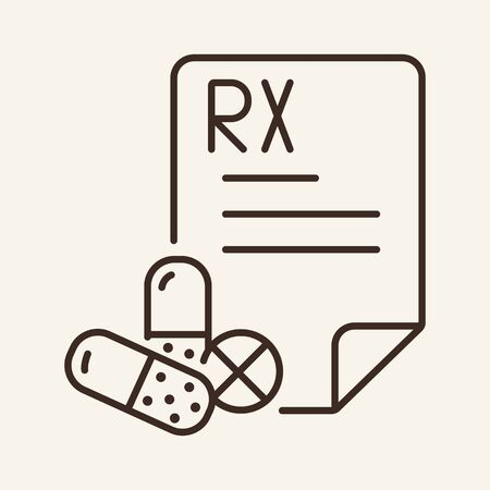 Prescription line icon. Paper, tablet, pills, capsules. Medicine concept. Vector illustration can be used for topics like pharmacy, medication, drugs