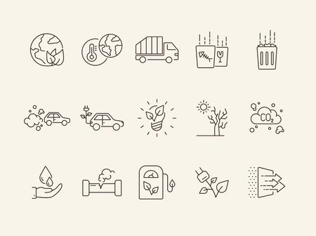 Ecology line icons. Set of line icons. Gas emission, truck. Ecology concept. Vector illustration can be used for topics like nature, environment protection