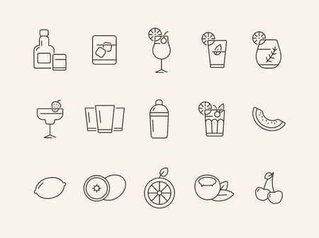 Tropical bar icons. Set of line icons. Cherries, lemon. Beverage concept. Vector illustration can be used for topics like advertising, business