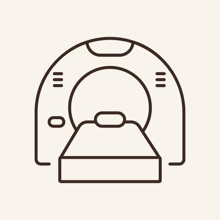 Icono de línea de tomografía. Escáner médico, máquina, radiación. Concepto de medicina. La ilustración vectorial se puede utilizar para temas como diagnóstico, radiología, terapia de resonancia magnética