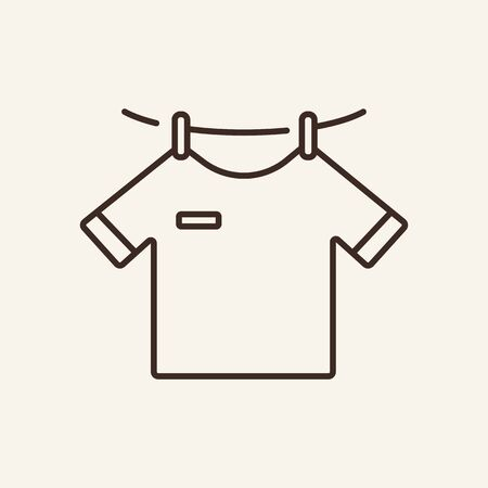 Icône de ligne de séchage. Corde à linge, t-shirt suspendu, vêtements propres. Notion de blanchisserie. L'illustration vectorielle peut être utilisée pour des sujets tels que le service, les travaux ménagers, l'hygiène