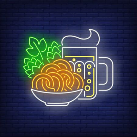 Beer mug, pretzels and hop cones neon sign. Oktoberfest, appetizer, party design. Night bright neon sign, colorful billboard, light banner. Vector illustration in neon style.