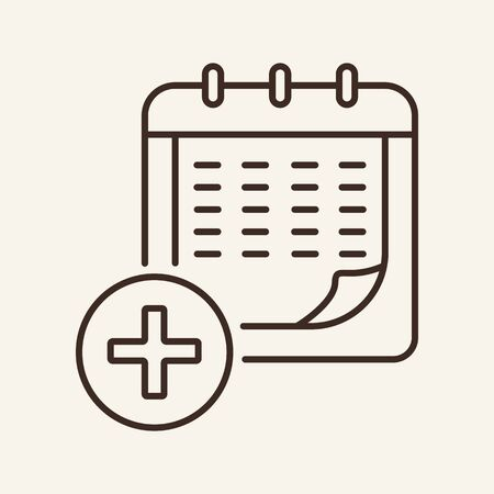 Medical calendar line icon. Cross, schedule, agenda. Medical help concept. Vector illustration can be used for topics like doctor appointment, preventive therapy, medical checkup