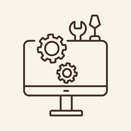 Computer settings line icon. Monitor, gear, wrench, screwdriver. Hardware concept. Vector illustration can be used for topics like technical support, maintenance, repair