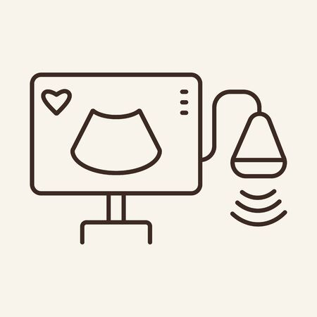 Ultrasound line icon. Monitor, scanner, medical equipment. Medicine concept. Vector illustration can be used for topics like ultrasonography, sonography, transducer Vettoriali