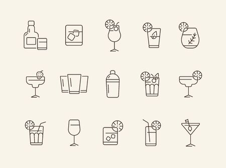 Cocktails line icons. Set of line icons. Beer mug, bottle with glass. Beverage concept. Vector illustration can be used for topics like advertising, business Illustration