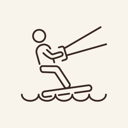 Kitesurfing line icon. Waterskiing, extreme, aquaboard. Vector illustration can be used for topics like sport, fitness, healthy lifestyle Illustration