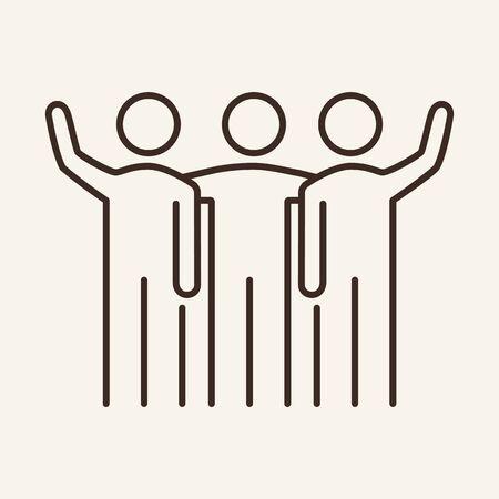 Icône de ligne vecteur équipe amicale. Collègues, nouveau projet, travail mutuel. Notion de partenariat. L'illustration vectorielle peut être utilisée pour des sujets tels que la communication, les affaires, l'équipe