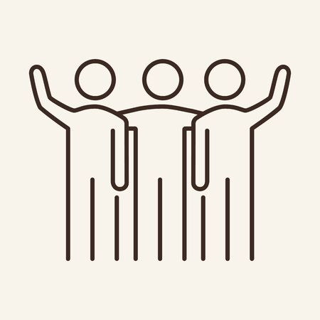 Friendly team vector line icon. Colleagues, new project, mutual work. Partnership concept. Vector illustration can be used for topics like communication, business, team