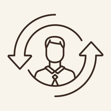 Staff updating vector line icon. Personnel, change, new. Human resource concept. Vector illustration can be used for topics like rotation, HR, staff