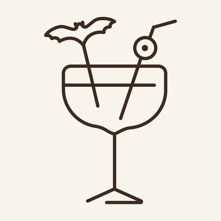Halloween cocktail vector line icon. Wine, party, Halloween. Vector illustration can be used for topics like holiday, Halloween, alcohol