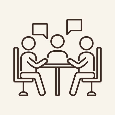 Business discussion vector line icon. Partners, colleagues, project. Negotiation concept. Vector illustration can be used for topics like communication, business, partnership