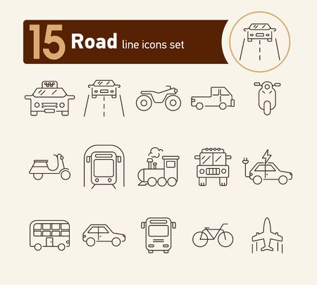 Road line icon set. Taxi, train, airplane,   subway. Transport concept. Can be used for topics like vehicle, trip, journey, traffic