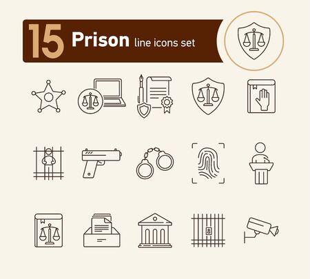 Prison line icon set. Courthouse, gun, criminal. Justice concept. Can be used for topics like arrest, investigation, punishment