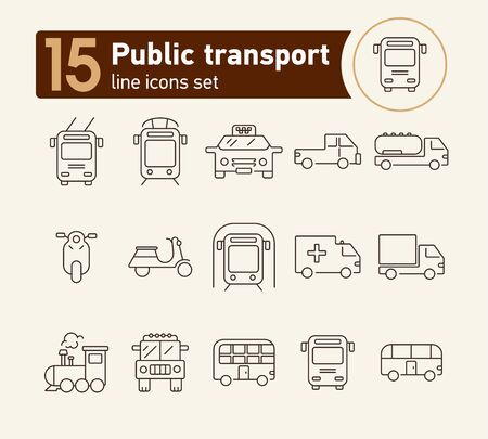 Public transport line icon set. Tram, trolley, taxi, subway, bus. Transport concept. Can be used for topics like vehicle, city, urban traffic, commuting