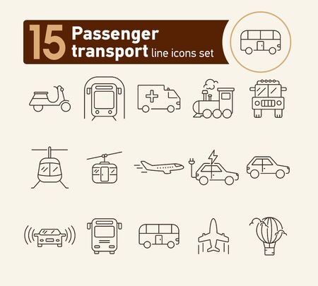 Passenger transport line icon set. Train, subway, airplane, bus. Transport concept. Can be used for topics like travel, vehicle, delivery, trip