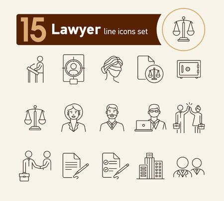 Lawyer line icon set. Attorney, man, woman, professional. Justice concept. Can be used for topics like trial, court, courthouse, law