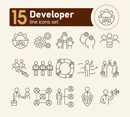 Developer line icon set. Leader, team, deal. Business concept. Can be used for topics like leadership, team success, teamwork