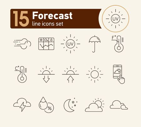 Forecast line icon set. Sun, cloud, temperature. Climate concept. Can be used for topics like environment, summer, meteorology