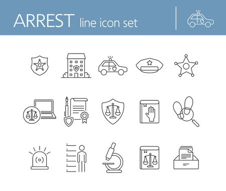 Arrest line icon set. Police department, car, sheriff badge. Police concept. Can be used for topics like justice, crime, investigation Ilustrace
