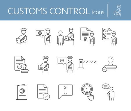 Customs control icons. Set of line icons. Faqs, passport, customs check, customs inspection. Immigration concept. Vector illustration can be used for topics like security, travel, airport Çizim
