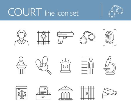 Court line icon set. Crime, judge, courthouse. Justice concept. Can be used for topics like investigation, prison, punishment
