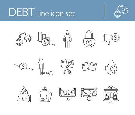 Schuldensymbole. Reihe von Liniensymbolen auf weißem Hintergrund. Bank verhaftet, Glas zerbrochen, Kreditkarte geschnitten. Insolvenz-Konzept. Vektorillustration kann für Themen wie Finanzen, Kriminalität, Bankwesen verwendet werden