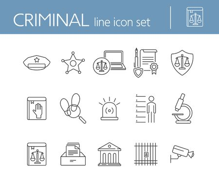 Criminal line icon set. Arrest warrant, sheriff badge, criminal code. Justice concept. Can be used for topics like investigation, court, crime Illusztráció