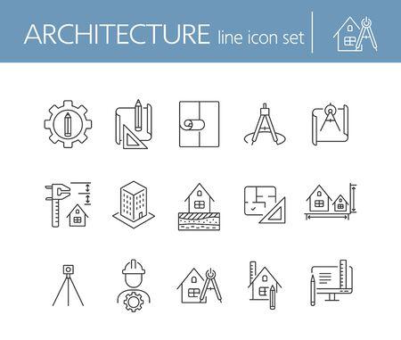 Jeu d'icônes de ligne d'architecture. Crayon, règle, plan d'étage, projet de construction. Notion d'architecture. Peut être utilisé pour des sujets tels que la conception de maisons, la construction, l'ingénierie, la mesure