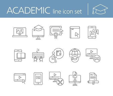 Academic line icon set. E-book, webinar, computer. Online education concept. Can be used for topics like course, diploma, self-development Stock Vector - 127785655
