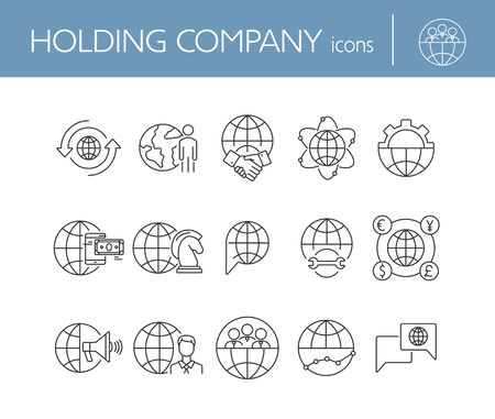 Holding company line icon set. Handshake, currency exchange, deal. Business concept. Can be used for topics like finance, multinational corporation, management