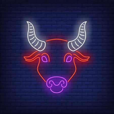 Taurus neon sign. Bull, head, cow, ox. Astrological sign concept. Vector illustration in neon style, glowing element for topics like zodiac, astrology, beef 일러스트