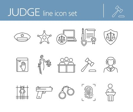 Judge line icon set. Sheriff badge, judge gavel, suspect, gun. Justice concept. Can be used for topics like crime, trial, courthouse Illustration
