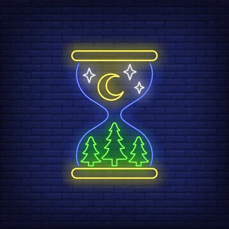 Nighttime neon sign. Crescent, stars, fir trees in hourglass. Time concept. Vector illustration in neon style, glowing element for topics like time, night, Christmas Ilustrace