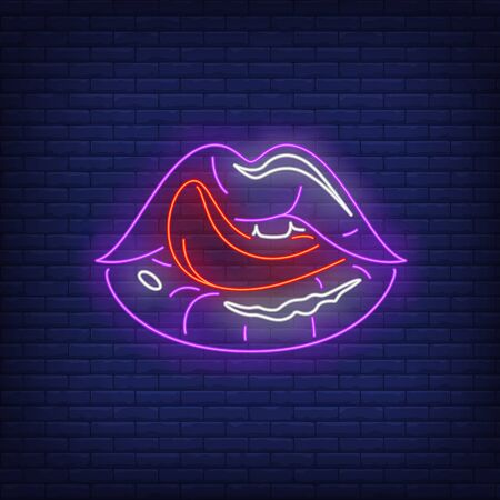 Licking lips neon sign. Female mouth, tongue out, teeth. Gestures concept. Vector illustration in neon style, glowing element for banners, posters, flyers