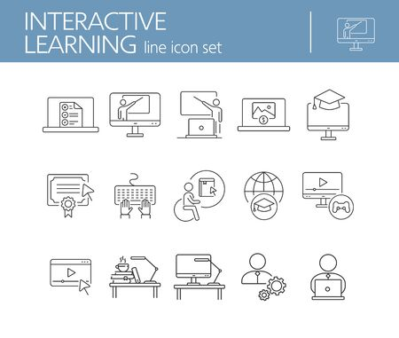 Interactive learning line icon set. Course, college, degree. Online lesson concept. Can be used for topics like e-learning, seminar, education Stock Vector - 127785872
