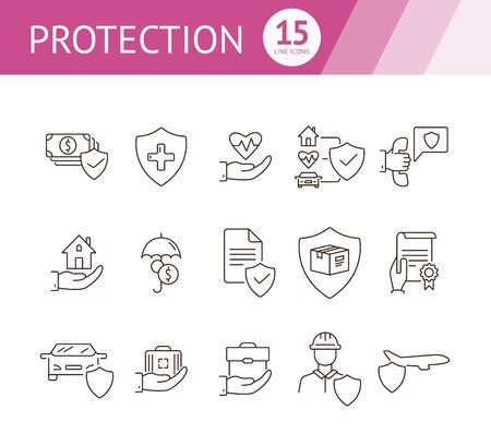 Protection line icon set. Shield, transportation, policy. Guarantee concept. Can be used for topics like insurance, accident, property