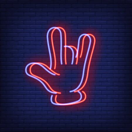 Devil horns gesture neon sign with chromatic aberration effect. Rock and Roll, advertising design. Night bright neon sign, colorful billboard, light banner. Vector illustration in neon style.