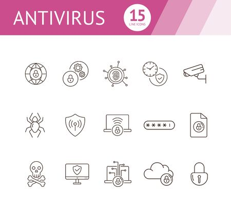 Antivirus line icons. Set of line icons. Closed padlock, skull and crossed bones. Internet security concept. Vector illustration can be used for topics like information security, computing
