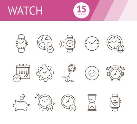 Watch line icon set. Wristwatch, alarm clock, piggy bank, sand glass. Time concept. Can be used for topics like time management, deadline, time is money, morning