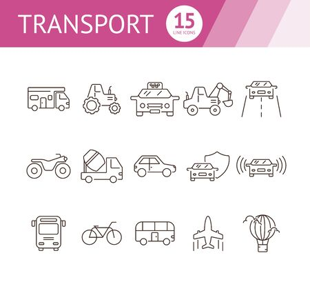Transport line icon set. Camper, tractor, taxi, car. Transport concept. Can be used for topics like vehicle, travel, delivery