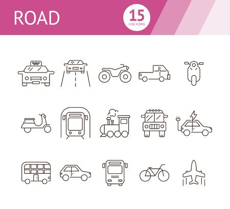 Road line icon set. Taxi, train, airplane, jeep, subway. Transport concept. Can be used for topics like vehicle, trip, journey, traffic