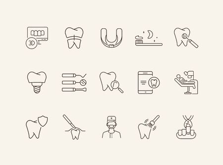 Implant icons. Set of line icons. Pain, tooth, operating room. Medicine concept. Vector illustration can be used for topics like stomatology, treatment, surgery