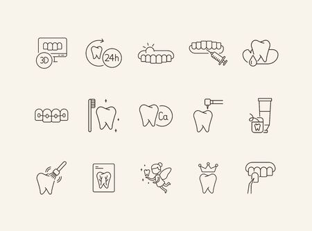 Healthy teeth icons. Set of line icons. Doctor, tooth, monitoring. Medicine concept. Vector illustration can be used for topics like stomatology, treatment, patient