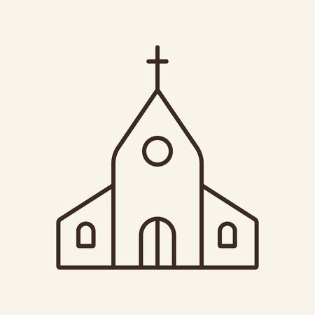 Church line icon. Building, cross, worship. Religion concept. Can be used for topics like wedding, faith, Christianity