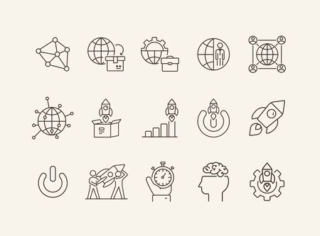 Innovation icons. Set of line icons. New, inspiration, idea.New technology concept. Vector illustration can be used for topics like startup, engineering, creativity Ilustrace