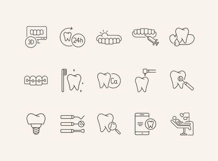 Dental icons. Set of line icons. Dentist, tooth, prophylaxis. Medicine concept. Vector illustration can be used for topics like stomatology, treatment, patient