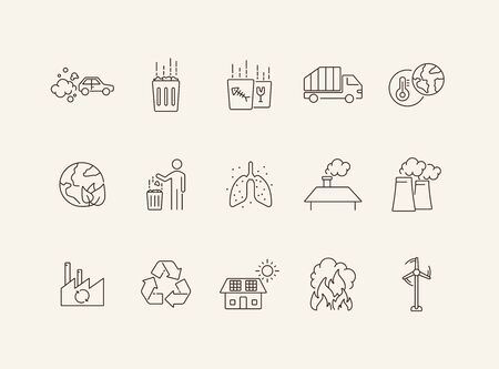 Environmental contamination icons. Set of line icons. Air pollution, planet contamination, greenhouse effect. Environment concept. Can be used for topics like environment, nature, industry
